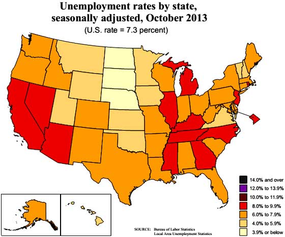 state unemployment map 10/13