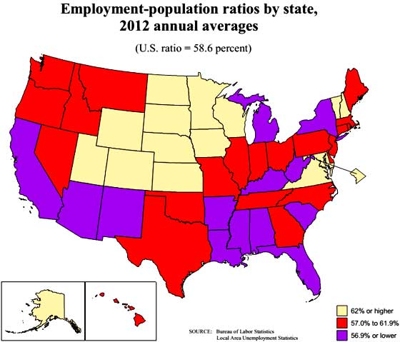 civilian employment population ratio by state map 2012 averages