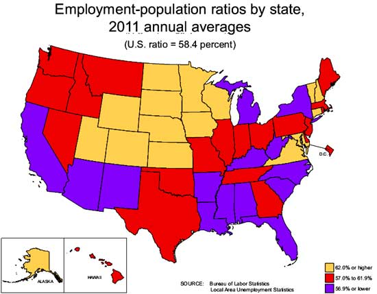 state employment to population ratio map 07-12
