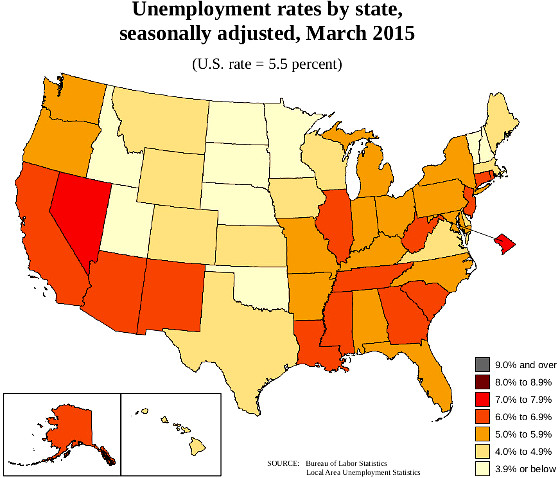 state unemployment map March 2015