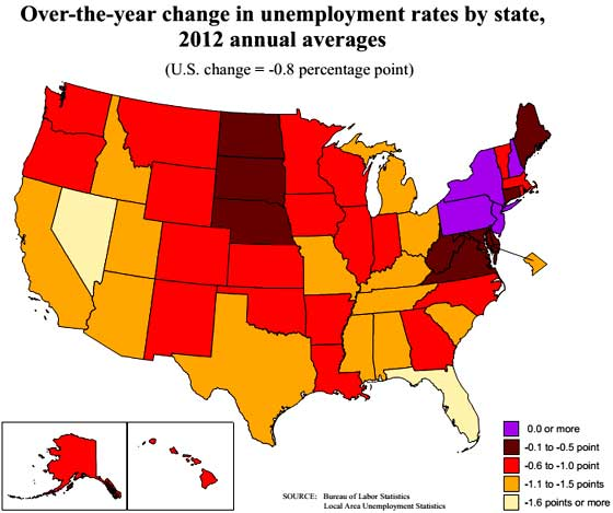 state unemployment map year 2012 averages