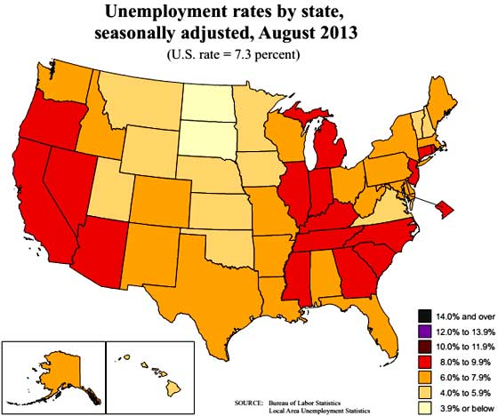 state unemployment map 8/13