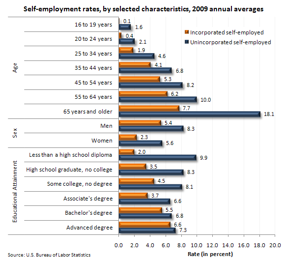 self-employed characteristics 2009 BLS