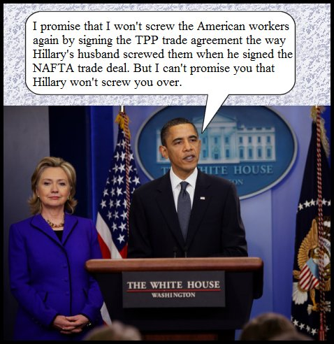 Obama and Hillary Clinton on TPP